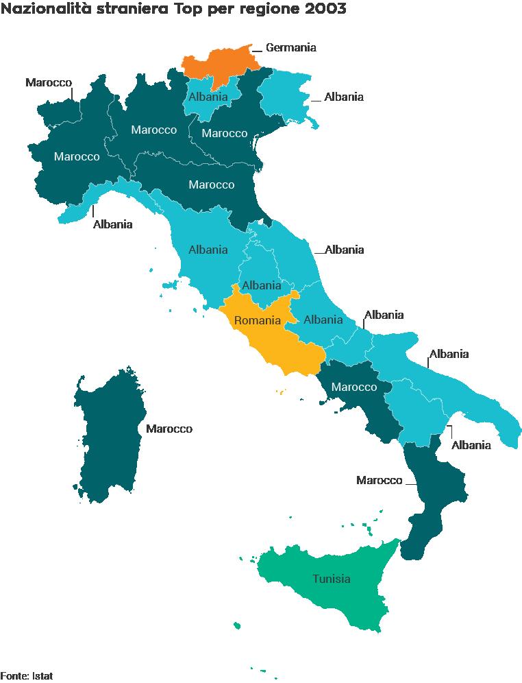 Principale nazionalità straniera per regione nel 2003