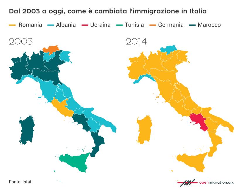 Dal 2003 a oggi, come è cambiata l'immigrazione in Italia