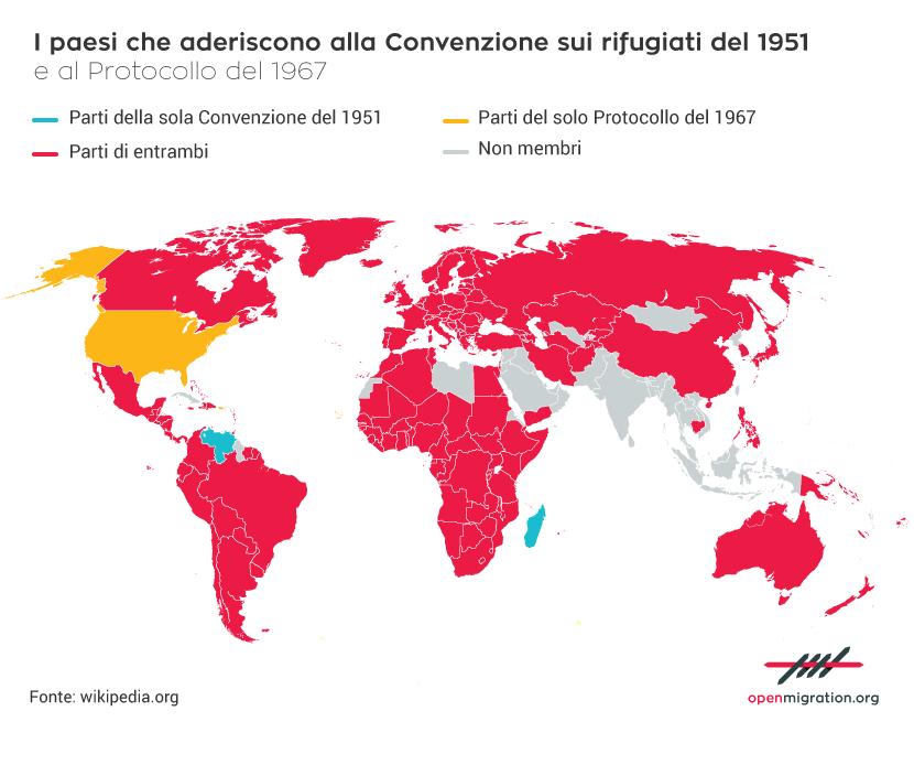 I paesi che aderiscono alla Convenzione sui rifugiati del 1951 e al Protocollo del 1967