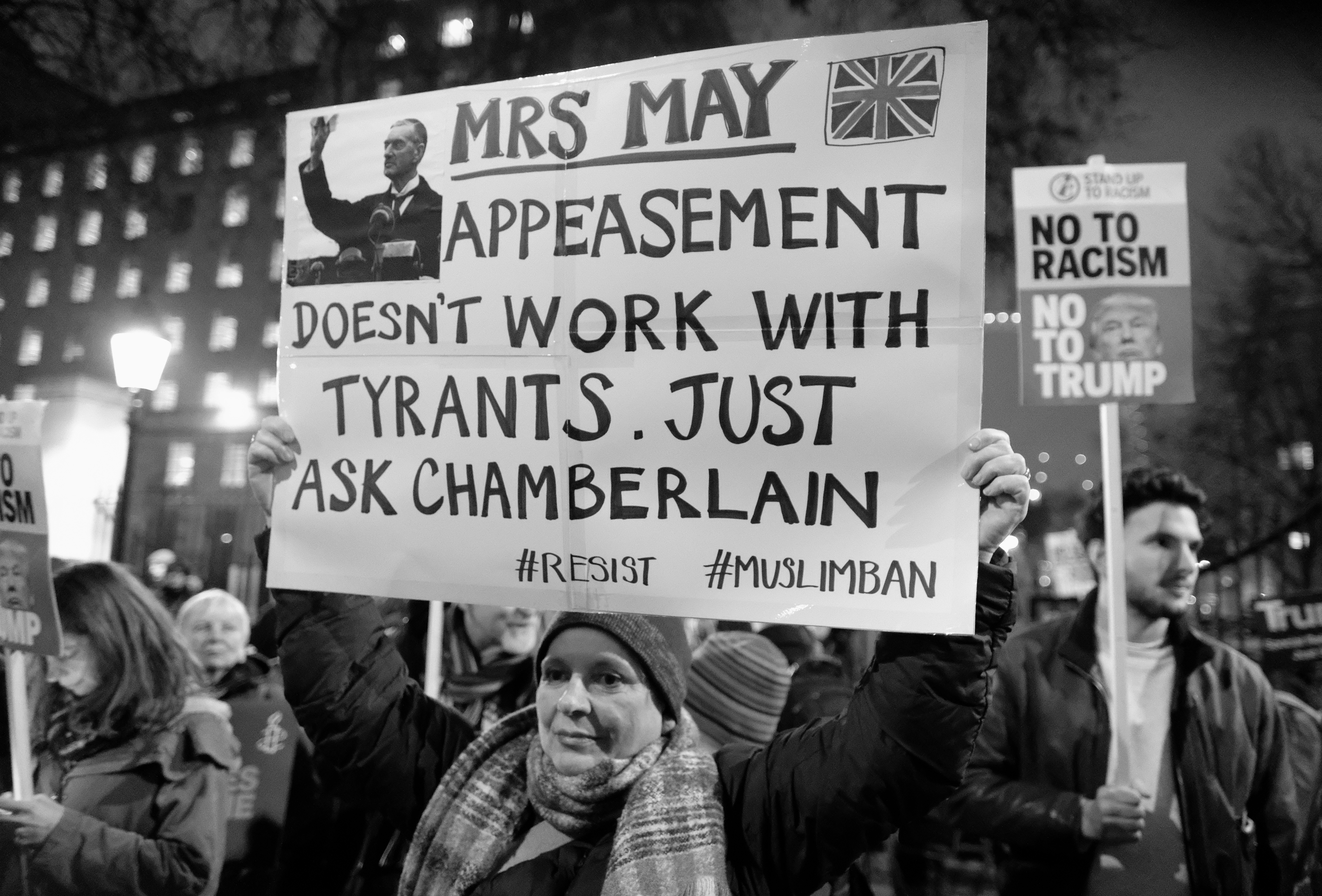 January 2017 London rally asking May to reject Trump's Muslim ban (photo: Alisdare Hickson, CC)