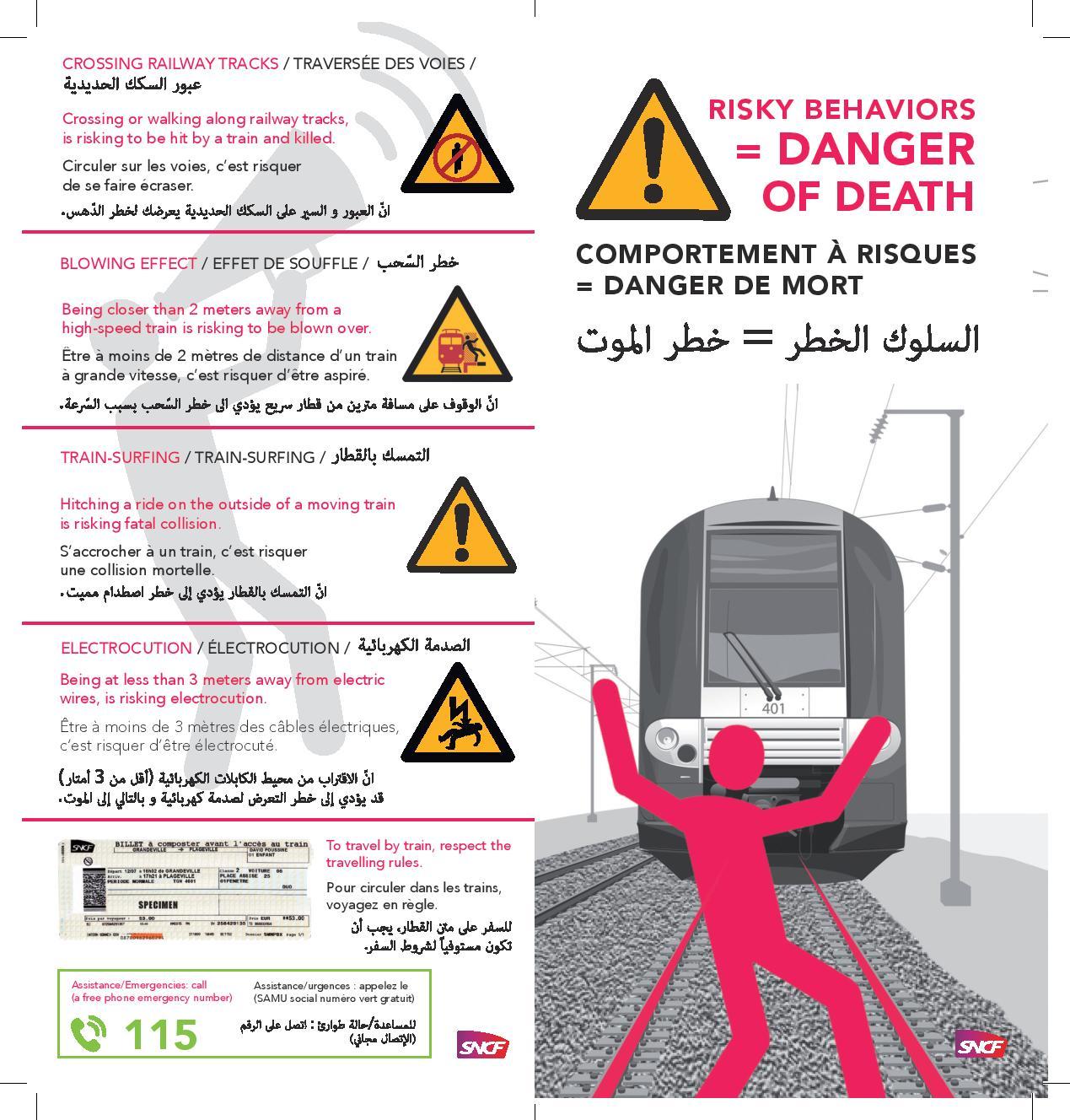 Le avvertenze pubblicate dalla Sncf, le ferrovie francesi, nel tentativo di evitare gli incidenti mortali che coinvolgono i migranti (Sncf)