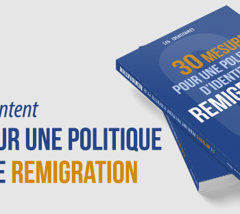 """il banner della pagina Facebook del gruppo politico Les Identitaires, che pubblicizza un libro sulla """"remigrazione"""""""