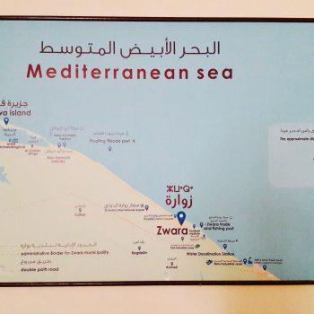 Mappa della Greater Municipality di Zuwara all'Hospitality Palace della città (foto: Marta Bellingreri)