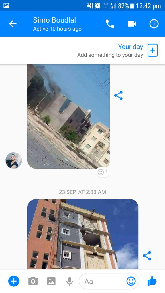 Messaggio su Messenger di Simo il 21 settembre con invio foto di Sabrata durante la battaglia che ha messo la città a ferro e fuoco per tre settimane.