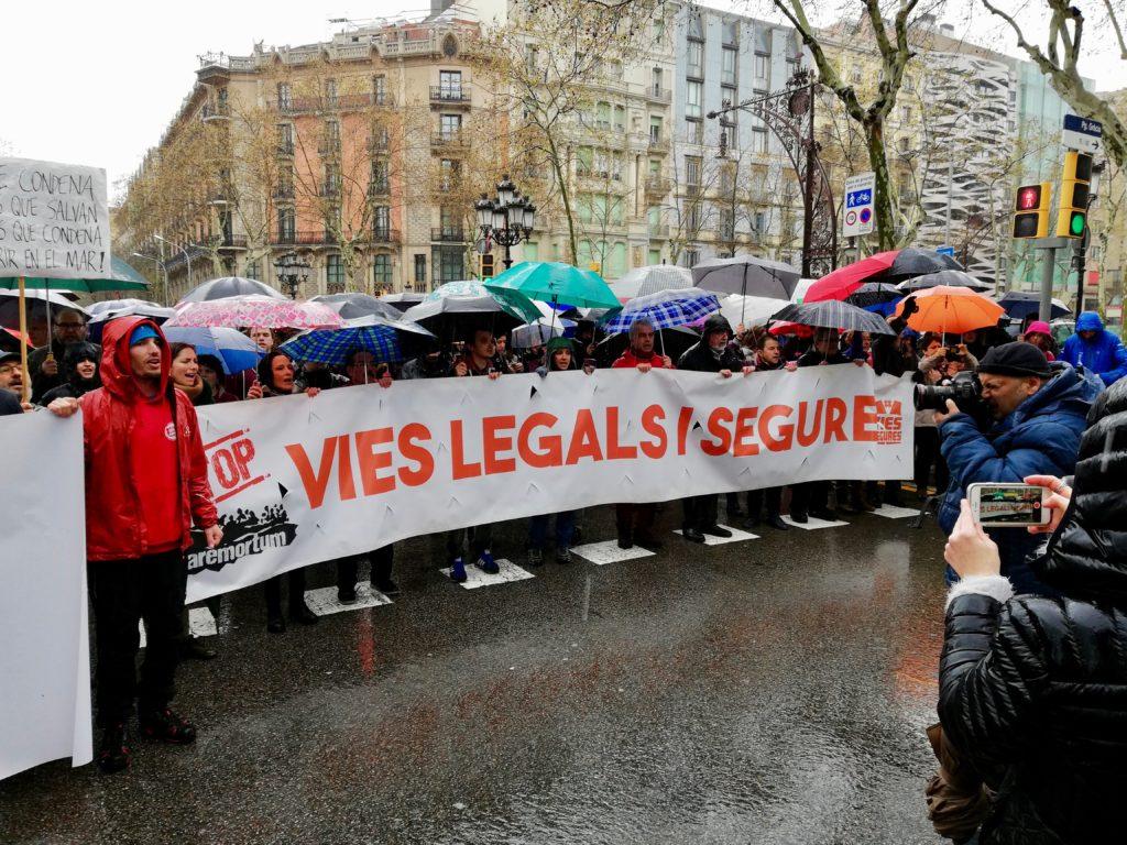 Manifestazione a sostegno di Open Arms a Barcellona il 24 marzo 2018 (foto: Andrea Oleandri)