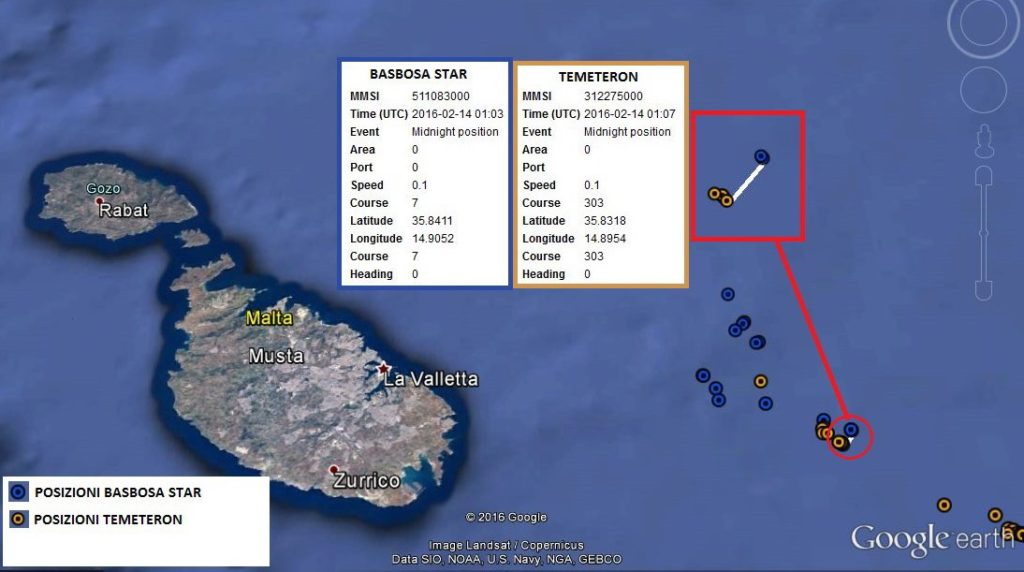 Nella mappa, realizzata dagli inquirenti, si traccia un avvicinamento sospetto tra la Temeteron e un'altra imbarcazione coinvolta nell'inchiesta Dirty Oil. Quando le due navi sono così vicine possono trasbordare il gasolio di contrabbando.