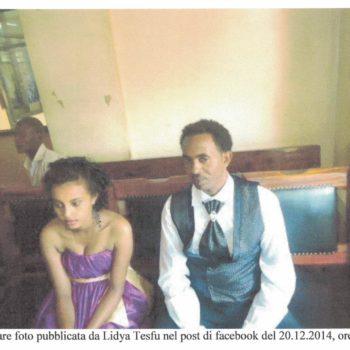 Lidya Tesfu col marito, il trafficante Mered. Postata su Facebook il 20 dicembre 2014.
