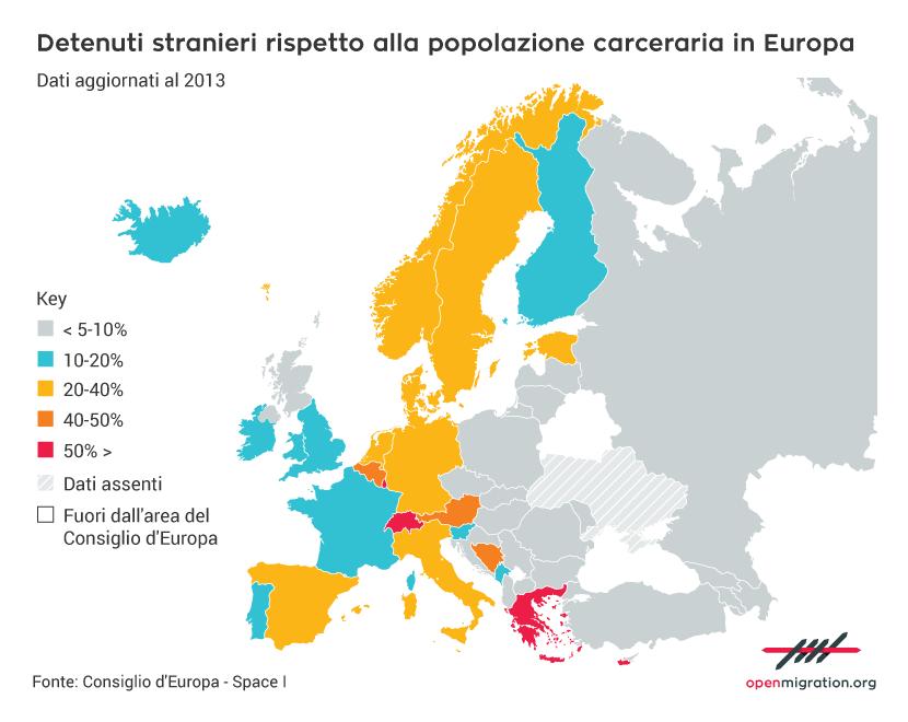 Detenuti stranieri rispetto alla popolazione carceraria