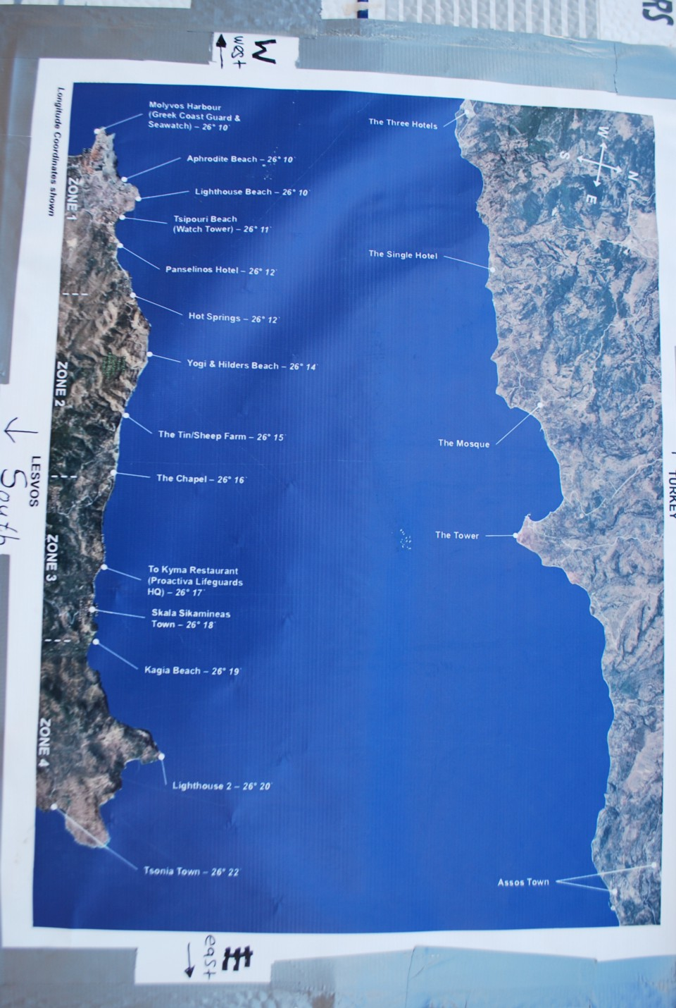 The map of Turkish and Greek coasts, with longitude and latitude coordinates