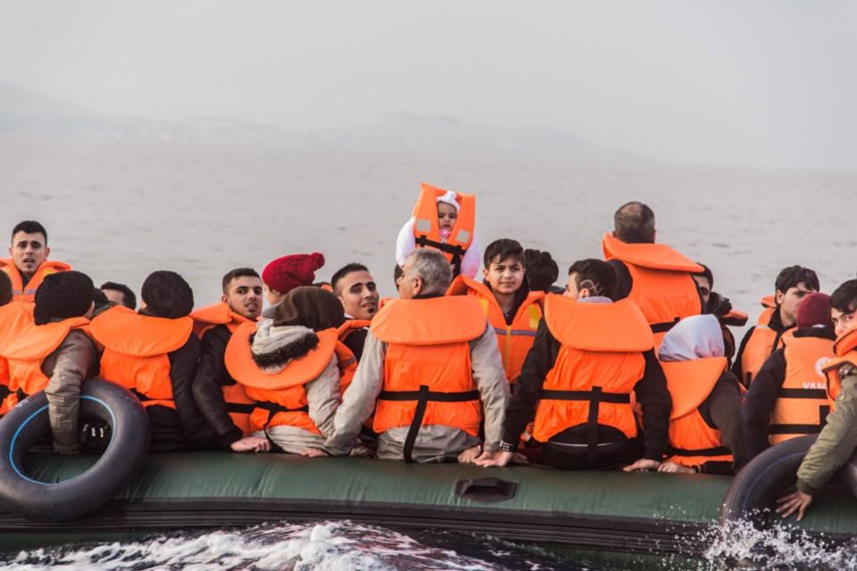 A rubber boat full of Iraqi's refugees (photo credit Federica Mameli)