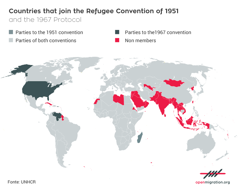 Countries that join the Refugee Convention of 1951