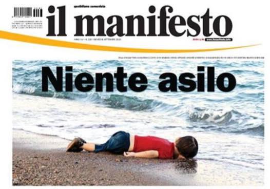 La prima pagina de il manifesto con il piccolo Alan Kurdi