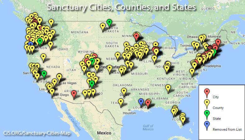 """La mappa delle cosiddette """"sanctuary cities"""", città sicure per i migranti senza documenti."""