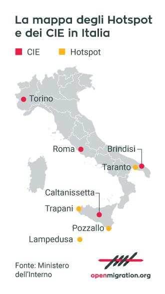 Hotspot e CIE in Italia, 2017