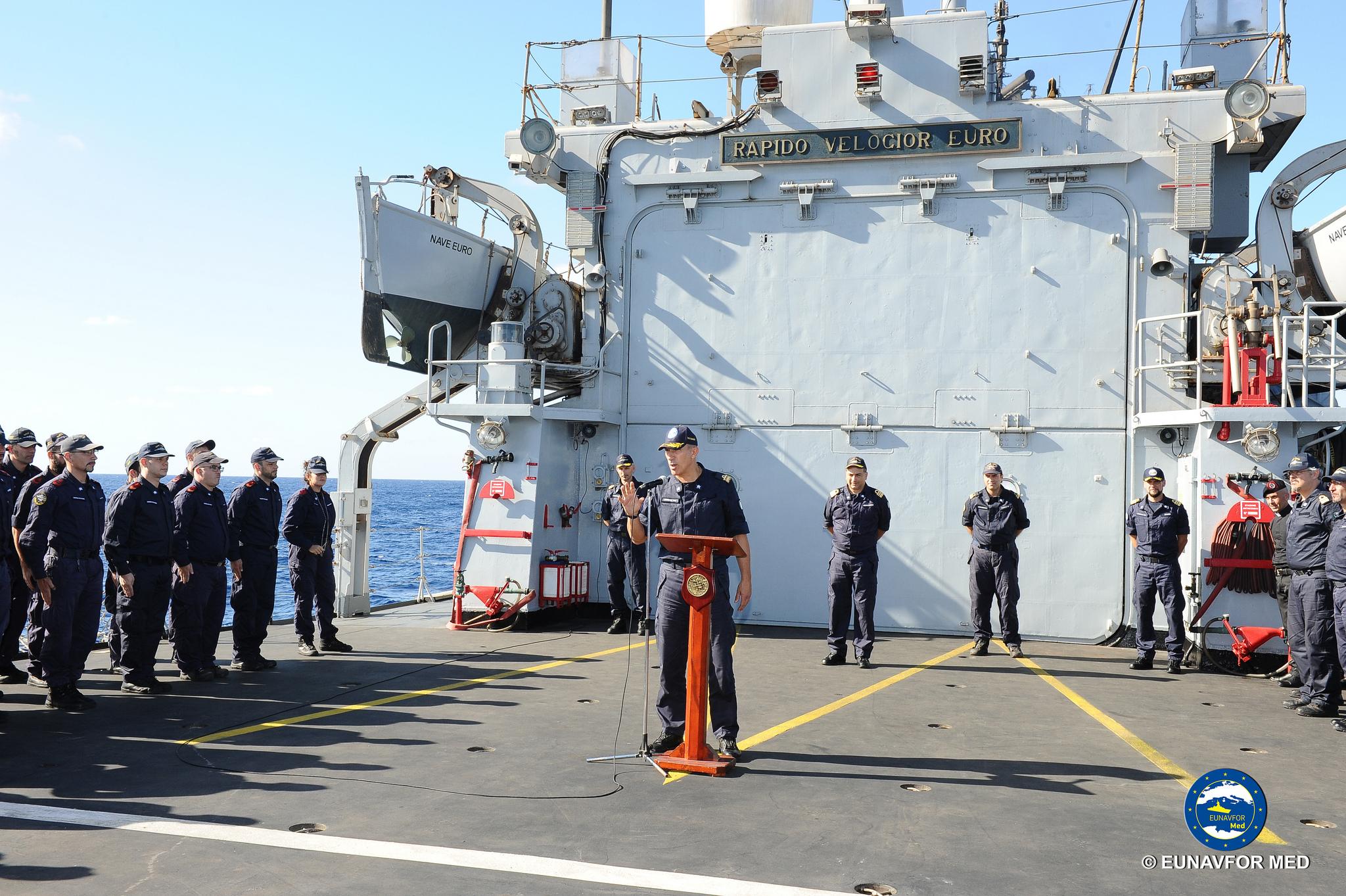 inizio attività di training della Marina Libica su Nave San Giorgio e Rotterdam (Photo: Eunavfor Med)