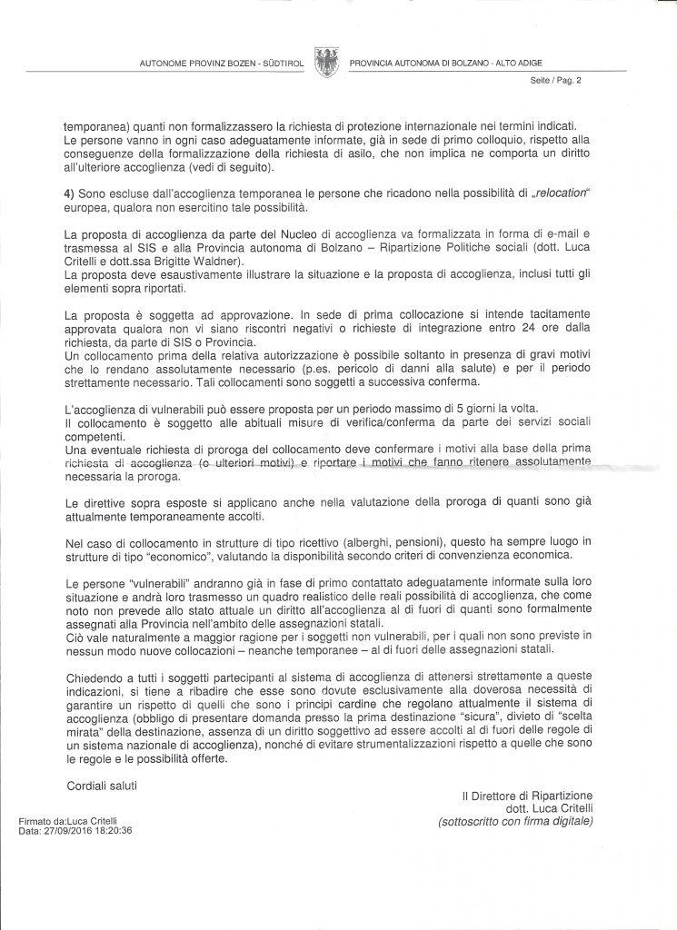 Circolare interna del settembre 2016 del Direttore di Ripartizione delle Politiche Sociali della provincia di Bolzano Luca Critelli (2/2)