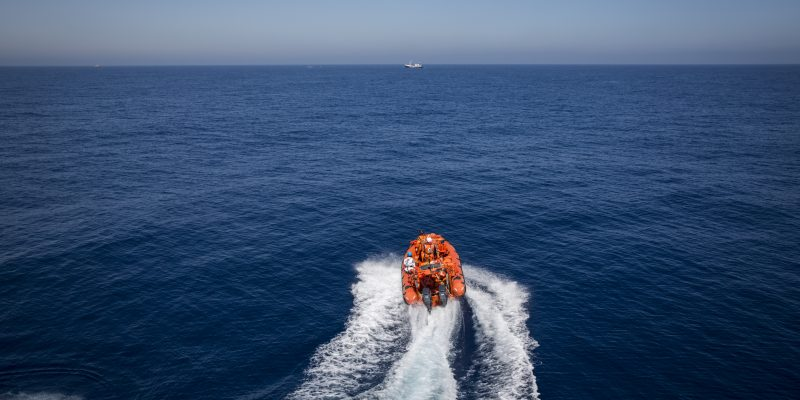 An MSF rib goes out to rescue a wooden boat in the sea off the coast of Libya, on 9th June, 2017. Five wooden boats and one rubber boats carrying 597 people where rescued, including 52 children on June 9. MSF vessel Vos Prudence rescued a total of 726 people from the Mediterranean Sea over 2 days on June 8th and 9th, including 52 children.