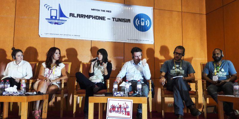 Il panel alla conferenza di Tunisi con le Ong attive nel soccorso nel Mediterraneo, tra cui Sea Watch, MSF e Jugend Rettet (foto: Marta Bellingreri)