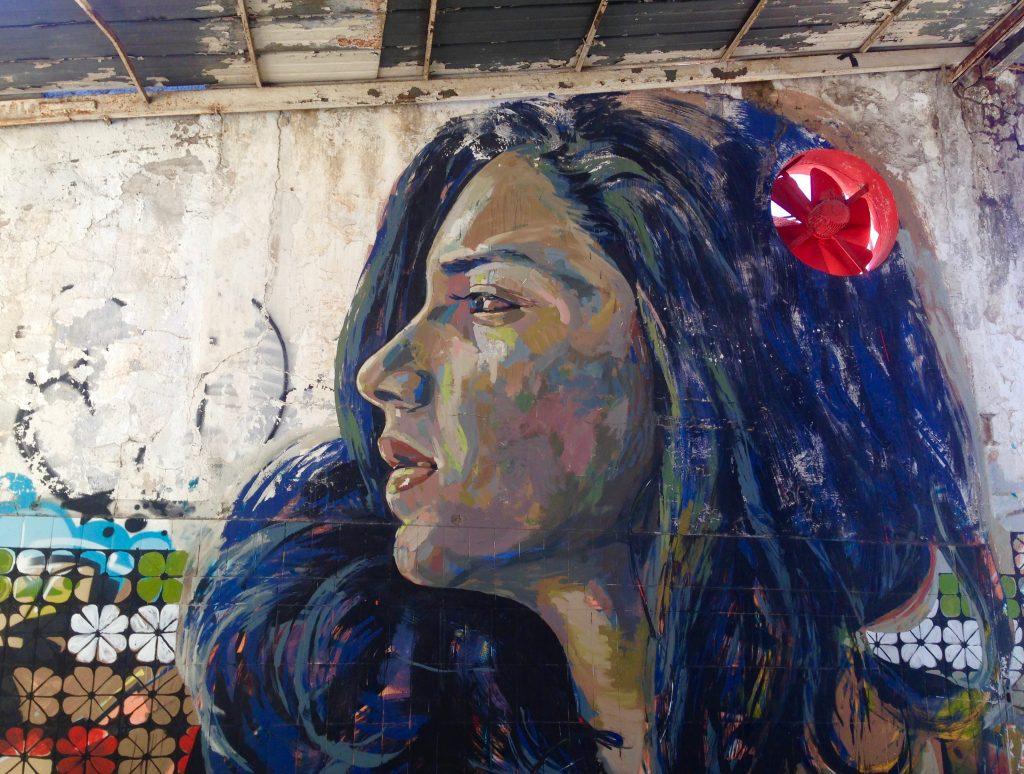 Il murale di Ammar Abo Bakr dedicato a Sana'a Seif, militante egiziana per i diritti civili, campeggia fiero al Maam. Foto di Maurizio Franco.