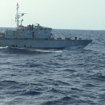A Libyan Coast Guard unit photographed from Open Arms' Golfo Azzurro vessel on August 15, 2017