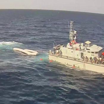 Un fotogramma dal video di un episodio in cui lOng Sea Watch accusò una pattuglia di guardacoste libici di aver provocato un violento incidente in mare.